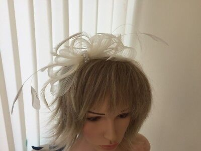 Ivory   Crin & Feather Fascinator On Hairband, Can Be Custom Made To Match Dress