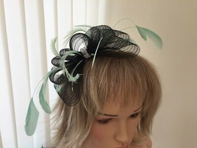 Black  & Mint Green  Crin &  Feather Fascinator On Hairband, Can Be Custom Made