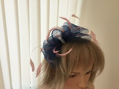 Navy & Rose Pink   Fascinator On Hairband, Can Be Custom Made To Match Dress