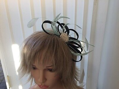 Black & Aqua - Sinamay  Fascinator Wedding,,Accessories, Can Be Custom Made