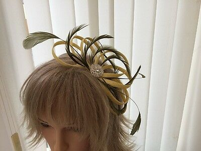 Yellow & Olive Green   Sinamay &  Feather Fascinator, Can Be Custom Made
