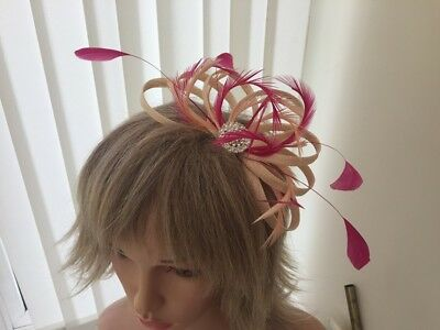 Peach / Apricot  And Hotpink   Sinamay/ Feather Fascinator,  Custom Made,