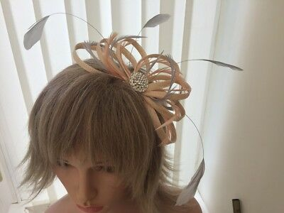 Peach / Apricot  And Silver Grey   Sinamay/ Feather Fascinator,  Custom Made,