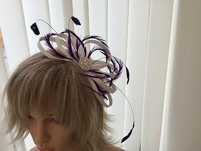 White & Purple  Sinamay And Feather Fascinator, Can Be Custom Made Weddings