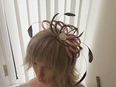 Peach & Chocolate Brown   Sinamay/ Feather Fascinator, Can Be Custom Made,