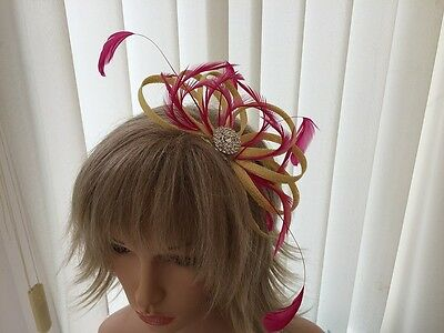 Yellow & Hotpink  Sinamay &  Feather Fascinator,  Weddings, Can Be Custom Made