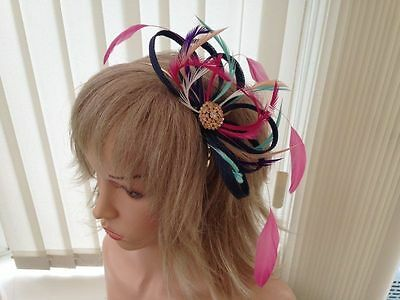 Navy Multicoloured   Sinamay &  Feather Fascinator,   Can Be Custom Made