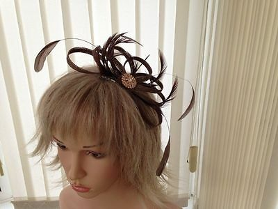 Coffee Brown   Sinamay &  Feather Fascinator,, Can Be Custom Made, Races,