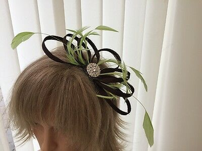 Chocolate Brown & Lime Green  Sinamay & Feather Fascinator,  Can Be Custom Made