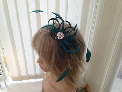 Teal Sinamay And Feather Fascinator, Ascot, Races, Weddings, Can Be Custom Made