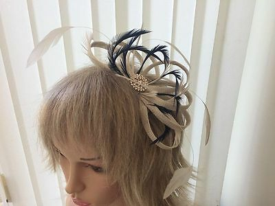 Champaigne Navy & Gold   Sinamay &  Feather Fascinator,   Can Be Custom Made