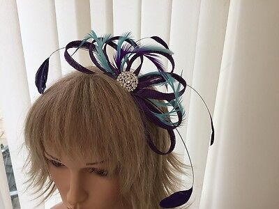 Purple & Turquoise   Sinamay/ Feather Fascinator, Can Be Custom Made To Match