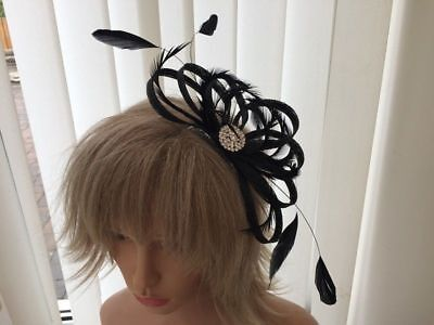Black  sinamay &feather fascinator,weddings,CAN BE CUSTOM MADE TO MATCH DRESS