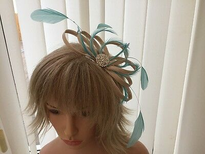 Champaigne & Turquoise   Sinamay And Feather Fascinator,  Can Be Custom Made