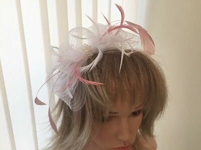 White & Rose Pink Crin And Feather Fascinator On Hairband,  Can Be Custom Made