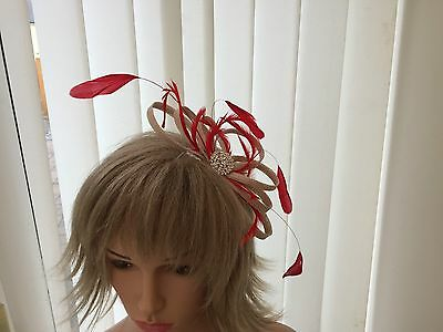 Champaigne & Red  & Feather Fascinator Can Be  Made To Match Outfit