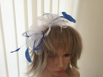 White & Cobalt Blue Crin And Feather Fascinator On Hairband,  Can Be Custom Made