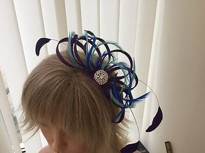 Purple, Turquoise & Cobalt  Sinamay/ Feather Fascinator, Can Be Custom Made