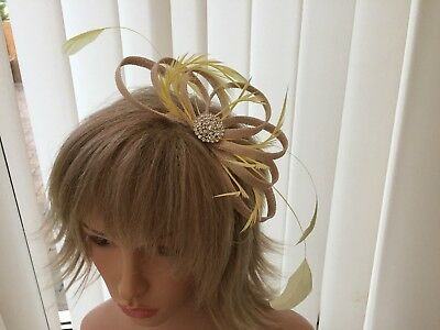 Champaigne & Yellow  & Feather Fascinator Can Be  Made To Match Outfit