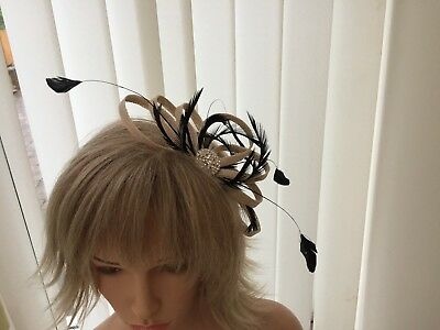 Champaigne & Black  & Feather Fascinator Can Be  Made To Match Outfit