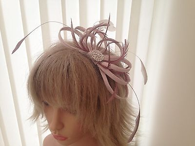 Nude Pink & Dusky Pink Sinamay/ Feather Fascinator, Can Be Custom Made, Weddings