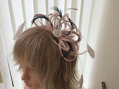 Nude Pink & Navy  Sinamay &  Feather Fascinator, Weddings, Can Be Custom Made
