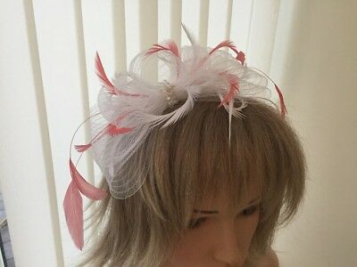 White & Coral  Crin And Feather Fascinator On Hairband, Can Be Custom Made
