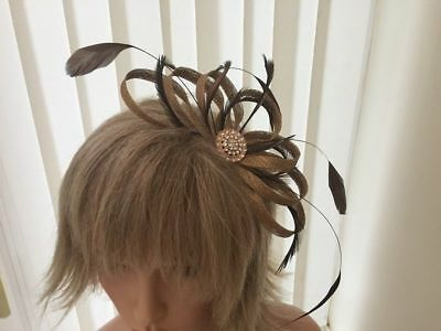 Gold Sinamay & Feather Fascinator - Choose Your Own Colour Feathers From List