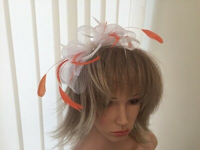 White & Orange Crin And Feather Fascinator On Hairband,  Can Be Custom Made