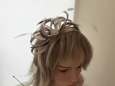Champaigne, Taupe & Brown  Sinamay And Feather Fascinator,  Can Be Custom Made