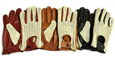 Mens Classic Driving Gloves Soft Genuine Real Lambskin Leather All Sizes