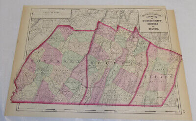 1872 Antique COLOR Map///COUNTIES OF SOMERSET, BEDFORD, FULTON, PENNSYLVANIA