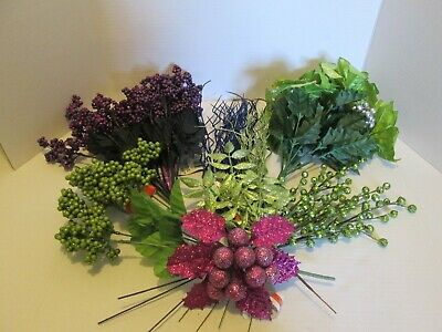Mix Lot 19 Floral Bushes Picks Sprays Purple Green Blue Glitter Crafts $50 Value