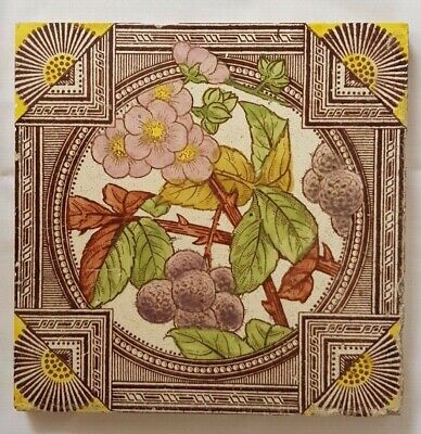 STUNNING ANTIQUE FLORAL blackberries ARTS & CRAFTS DESIGN TILE