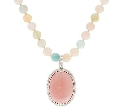 Sterling Silver Opaque Pink Opal Bead & Cabochon Necklace/Enhancer Set Qvc $193