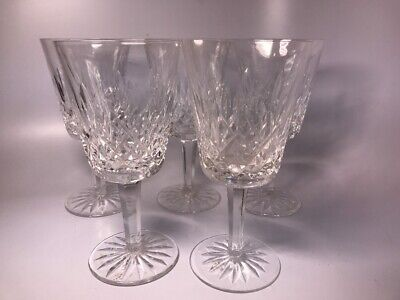 Lot of 5 Waterford Crystal Lismore Pattern Water Goblets Glasses