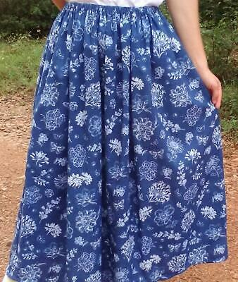 Ladies Skirt medium blue floral cotton long full modest L 14 16 made in the USA!