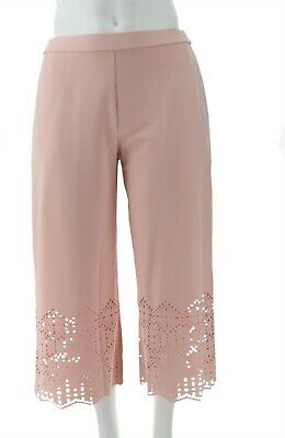 Dennis Basso Luxe Crepe Pull-On Crop Pants Laser Cut Blush Pink 1X NEW A307234