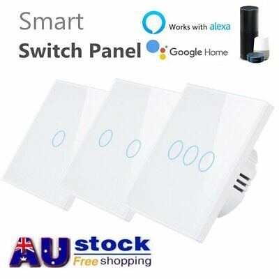 Smart Home Wifi Wall Light Touch Panel Switch App For Alexa Google Home 1-3 Gang