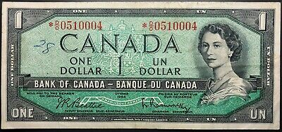 1954 Bank of Canada $1 One Dollar Bill - Replacement Note *D/O Prefix