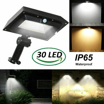 30 LEDs Solar PIR Motion Sensor Wall Light Outdoor Patio Garden Gutter Lamp