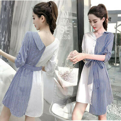 2019 Summer Womens Striped Bows Hot Dress Korean Shirt Dress V Neck Asymmetric