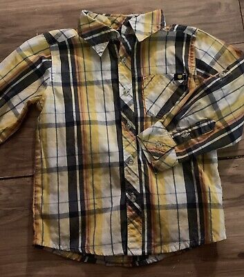 Lucky Brand Boys Long Sleeve Button Up Shirt Size 3T Yellow Blue Orange