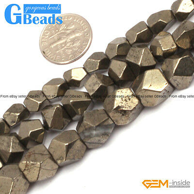 """Natural Grey Pyrite Gemstone Faceted Polygonal Beads Free Shipping Strand 15"""""""
