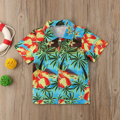 Hawaiian Style Baby Boy Shirt Toddler Short Sleeve Shirt Summer Beach Tops USA