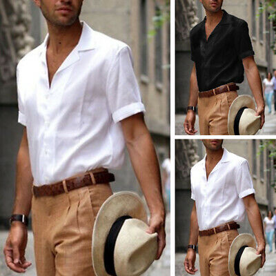 Men's Short Sleeve Summer Solid T Shirts Casual Formal Loose Dress Soft Tops Tee