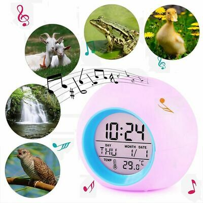 7Colorful LED Multifunction Alarm Clock Calendar Thermometer Snooze Table Clock