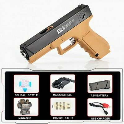 YJD-glock 18 hopper fed auto gel blaster pistol (TAN colour) extended magazine