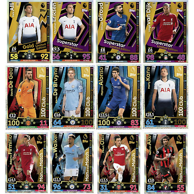 Match Attax 2018/19 18/19 Limited Edition Man Of The Match & 100 Club