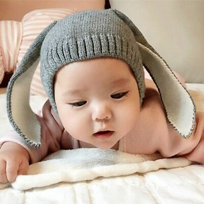 Newborn Baby Kids Rabbit Bunny Ears Hat Warm Crochet Knitted Earflap Cap CRT0